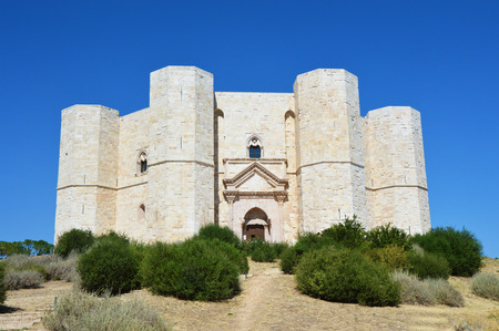 Beautiful view of Castel del Monte, the famous castle built in an octagonal shape by the Holy Roman Emperor Frederick II in the 13th century in Apulia, Italy Editorial