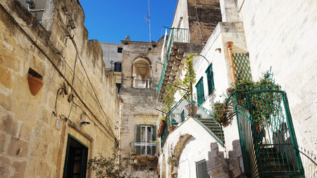 rupestrian: MATERA, ITALY - JULY 28, 2017: typical alley of Matera old town,   European Capital of Culture 2019, Matera, Basilicata, Italy