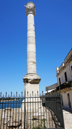 Ancient roman column, which is a landmark of Brindisi, Puglia, Italy