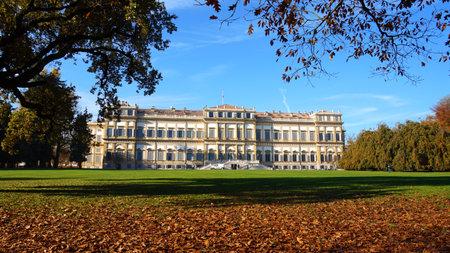 Italian Landmark in fall. Monza Royal Palace in autumn.