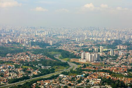 Panoramic cityscape skyline of the Greater Sao Paulo, large metropolitan area located in the Sao Paulo state in Brazil Imagens