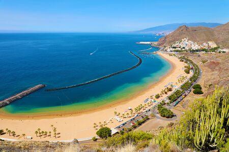 Panoramic view of San Andres village and Las Teresitas Beach, Tenerife, Spain