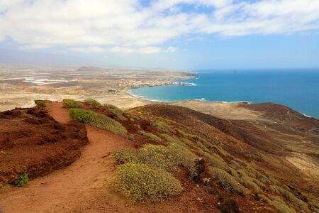 Fantastic views of El Medano from the Montana Roja (Red Mountain), Tenerife, Spain, Europe. Artistic picture. Beauty world.