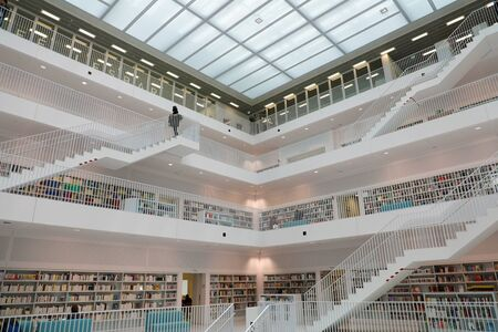 STUTTGART, GERMANY - JUNE 12, 2019: Stuttgart modern city library, Germany