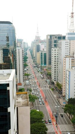 Skyscrapers in Paulista Avenue in Sao Paulo Metropolis, Brazil 写真素材