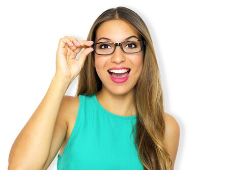 Beautiful excited young woman with glasses on violet background. Eyewear and clear vision concept. 写真素材