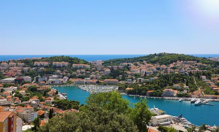 Dalmatian coastline panoramic view from Dubrovnik with the port, Croatia, Europe