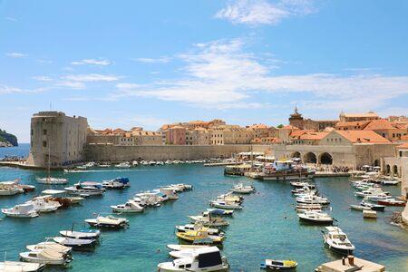 Beautiful panoramic view of the old town harbor of Dubrovnik, Croatia, Europe