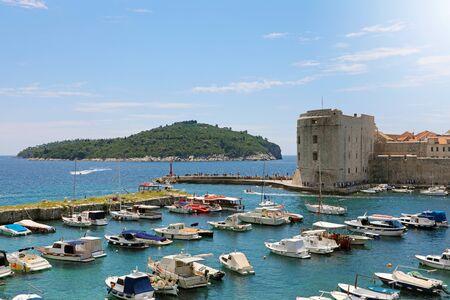 Beautiful panoramic view of the old harbor of Dubrovnik with Lokrum Island, Croatia, Europe