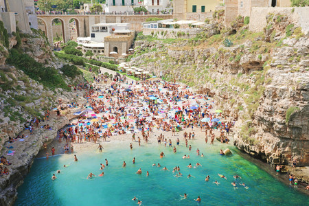 POLIGNANO A MARE, ITALY - JULY 28, 2019: beautiful aerial panoramic view of Polignano a mare, Italy