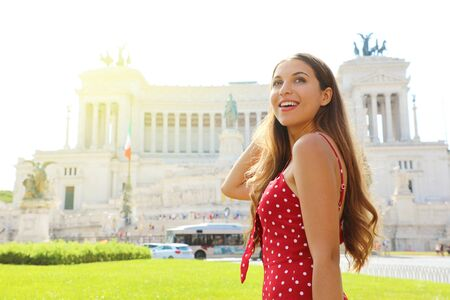 Portrait of smiling beautiful tourist girl in Venice square famous landmark of Rome. Summer holidays in Italy.