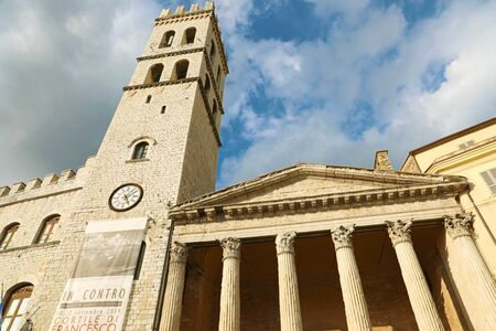 ASSISI, ITALY - SEPTEMBER 28, 2019: Minerva temple of Assisi, Umbria, Italy. Stock Photo