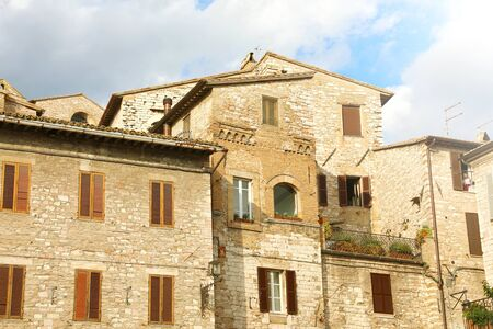 Detail of typical old medieval buildings in Italy. Stock Photo