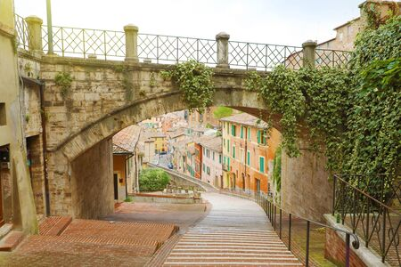 Perugia beautiful old street via dell'Acquedotto, Umbria, Italy.