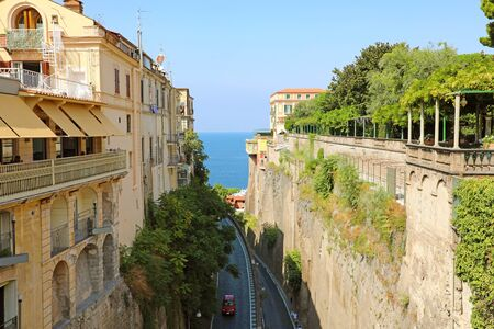 Beautiful street to the sea in Sorrento, Naples, Italy. Stock Photo