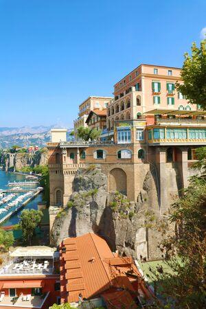 Panorama of the sea coast of resort town Sorrento, Naples, Italy.