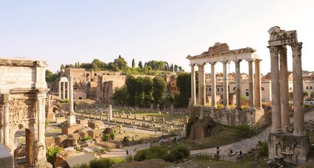 Panoramic view of Roman Forum at sunset in Rome, Italy.