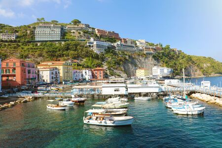 Sorrento Coast with the harbour and village, Italy. Фото со стока