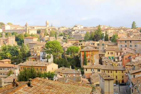 Perugia old city panoramic view of the roofs of historic quarter with medieval houses, Italy.