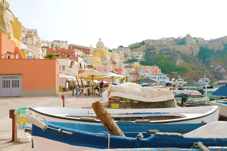 PROCIDA, ITALY - SEPTEMBER 19, 2019: Beautiful colorful harbor of Procida island, Naples, Italy.