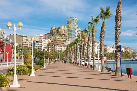 ALICANTE, SPAIN - NOVEMBER 29, 2019: Alicante promenade Mediterranean sea destination in Spain, Europe