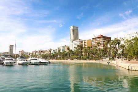 Beautiful view of Alicante city on Mediterranean sea, Spain