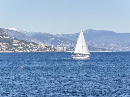 villefranche sur mer: Sailing boat in front of Paloma Beach Cap Ferrat