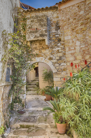 villefranche sur mer: Paving street in the medieval village of Roquebrune