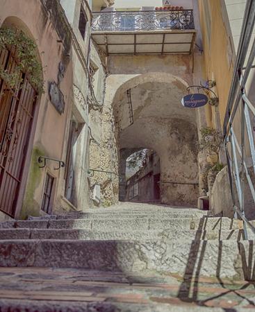 villefranche sur mer: Steps in the medieval village of Roquebrune