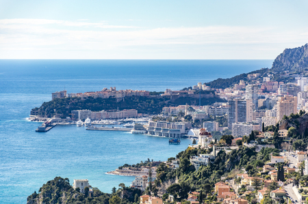 villefranche sur mer: Principality of Monaco from Moyenne Corniche Stock Photo