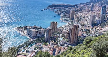 villefranche sur mer: Montecarlo from Moyenne Corniche Stock Photo
