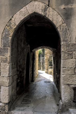 Little alley in the medieval Provencal village of Roquebrune Cap Martin in French Riviera
