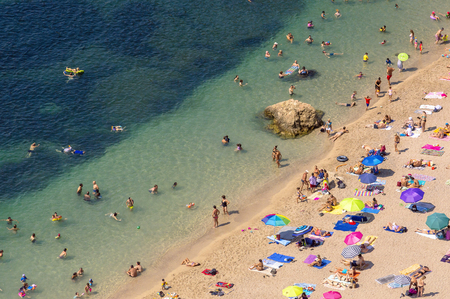 Panoramic view of Villefranche bay with boats and beaches Editorial