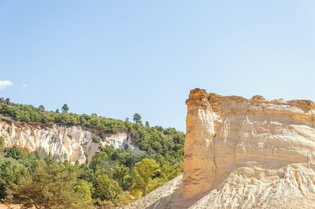 Panoramic view of the ocher lands in the Rustrel nature park