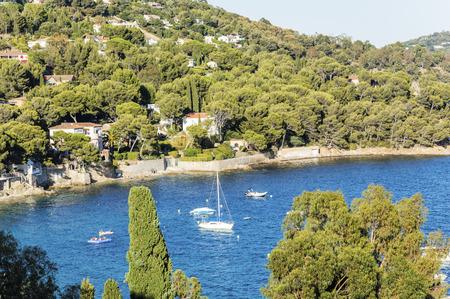 Seacoast near Le Lavandou and Bormes-les-Mimosas in French Riviera Editoriali