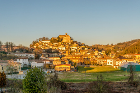 Sunset on the hills of Montferrat during winter