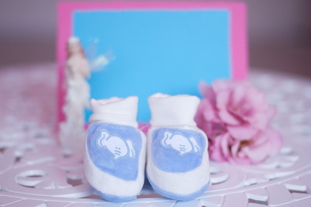 Blue baby shoes photo
