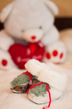 Baby shoes and teddy photo