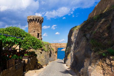castle rock: Castle view in Tossa de Mar, Costa Brava, Spain. Stock Photo
