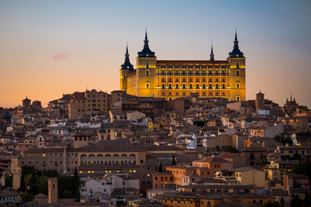 toledo town: Panoramic view of ancient city and Alcazar on a hill over the Tagus River, Castilla la Mancha, Toledo, Spain Stock Photo