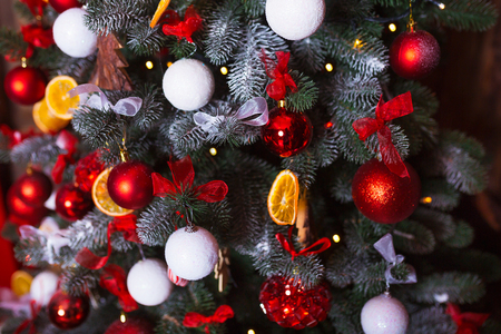 plaything: Christmas tree decoration close up. No people. Home comfort of modern house Stock Photo