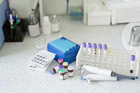 Blood tube test for analysis in the laboratory. Blood tubes in tray in the lab