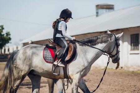 Little Girl in helmet Learning Horseback Riding. Instructor teaches kid Equestrian