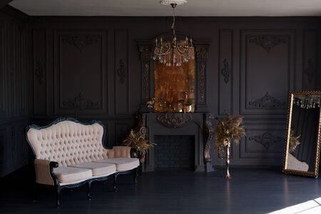Black room interior with a vintage sofa, chandelier, mirror and fireplace Standard-Bild - 149376666