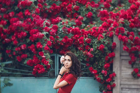 Beautiful portrait of sensual brunette woman close to red roses. Toned image Standard-Bild - 151085054