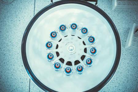 Test tubes in laboratory centrifuge. Blood analysis Standard-Bild