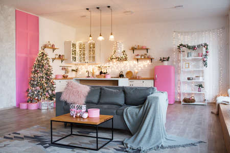 Interior of modern studio living room with comfortable sofa decorated with Christmas tree and gifts