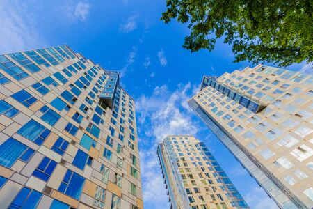 Looking up at tall residential building with tree and clear sky