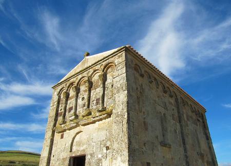 Romanesque church of San Nicola di Trullas (Semestene - Sardinia) - Small medieval church annexed to a convent Stock Photo