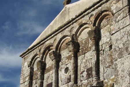 Facade detail of Romanesque church of San Nicola di Trullas (Semestene - Sardinia) - Small medieval church annexed to a convent